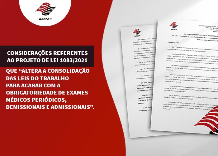 CONSIDERAÇÕES REFERENTES AO PROJETO DE LEI 1083/2021